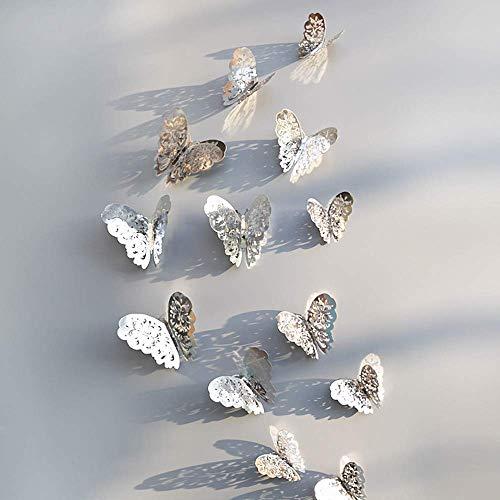 JoyRolly 12 Pegatinas de Pared Hueca en 3D, Nevera de Mariposa para decoración del hogar, Nuevo diseño, decoración de Pared Moderna, decoración de habitación Silver