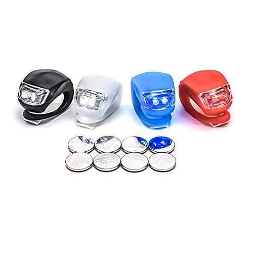 LUZWAY Luci Bici LED, Luce Bicicletta Impermeabile, 2 Pezzi Luci Bicicletta Faretto in Silicone LED Posteriore e Anteriore, Batterie Incluse