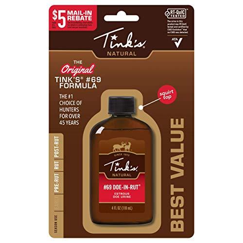 TINK'S #69 Doe-in-Rut Buck Lure   4 Fl Oz Bottle   100% Natural Deer Urine   Deer Hunting Accessories, Deer Attractant, Buck Hunting Scent   Easy to Use Squirt Top
