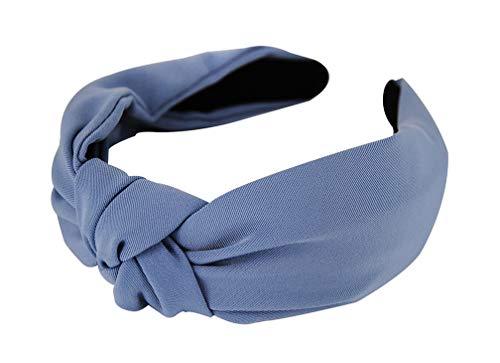 axy Stoff Haarreif mit Knoten-Vintage-Wunderschön Stirnband Haarschmuck Haarreifen HR35 (Blau)