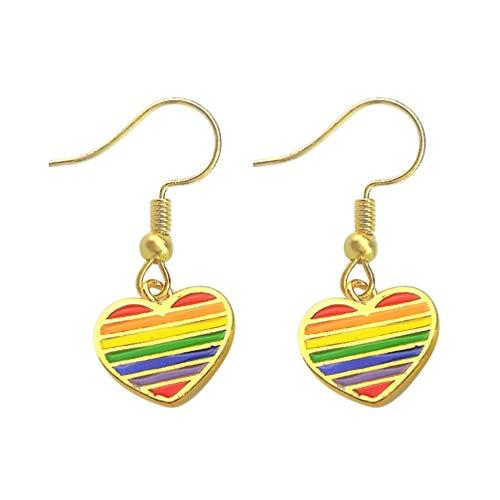 Holibanna 1 par de Pendientes de Corazón de Arco Iris Pendientes de Orejas de Rayas de Arco Iris Joyería Del Orgullo Gay para Hombres Mujeres Orgullo Gay Y Lésbico (Dorado)