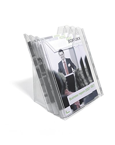 Durable 857819 Dispensador de folletos Combiboxx A4 Set L, 3 compartimentos, para aplicación en mesa y pared, transparente