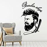 Cráneo Barba Afeitadora Esqueleto Barbería Afeitado Logotipo Peluquería Corte de pelo Peluquería Peluquería Etiqueta de la pared Vinilo Art Decal Club Studio Decoración para el hogar Mural