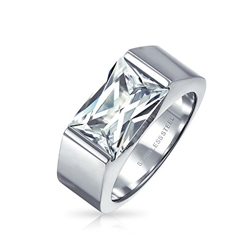 Bling Jewelry Geometric 4CT Square Cubic Zirconia Emerald Cut CZ Mens Engagement Ring for Men Silver Tone Stainless Steel