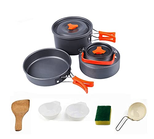 SHANG-JUN Utensilios de Cocina de Camping Juego de ollas al Aire Libre Conjunto de Tetera 2-3 Personas Camping Kettle Pot Set Portable Utensilios de Cocina al Aire Libre Conjunto de Cocina de Camping