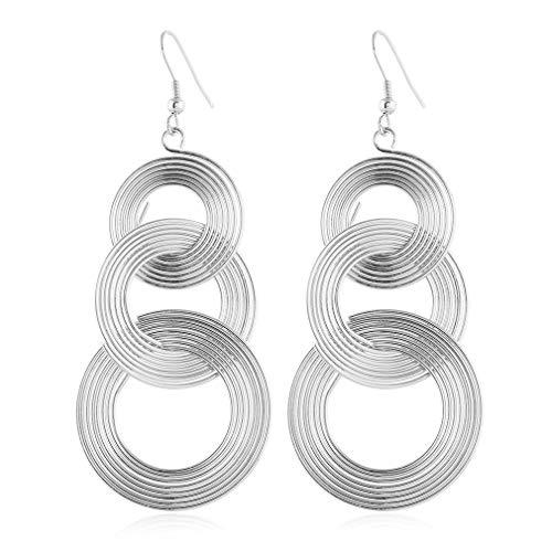 YAZILIND - Pendiente de anzuelo retro exagerado, colgante de círculo grande, pendientes colgantes, joyería de regalo de cumpleaños para mujer (plata)