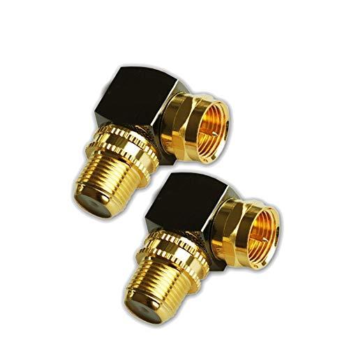 Sat F Stecker Winkel Adapter 90° Grad Massiv für Koaxialkabel F-Winkelstecker Winkeladapter F-Adapter gewinkelt Sat-Kabel Antennenkabel Kupplung Vergoldet - 2 Stück (2X, F Winkel Adapter)