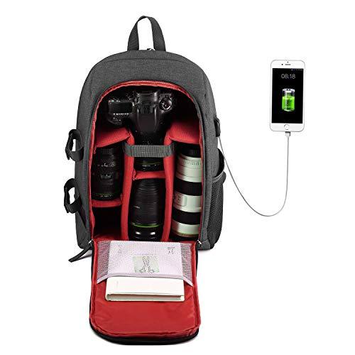 Selighting DSLR Kamerarucksack Fotorucksack Rucksack Kamera wasserdichte Kameratasche für Canon Nikon Sony mit Stativhalterung (Rot-USB)