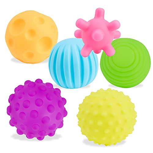 Balles Souples Sensorielles - 6 balles texturées aux Formes et Tailles différentes Jeu sensoriel pour bébé - pour Les Enfants de 3+ Ans