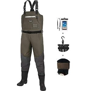 ピシファン(Piscifun)ウェーダー 防水透湿 胴長靴ウェーダー チェストハイ型 フィッシングウェーダー 釣り用スーツ 9