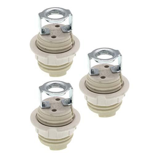 Portalámparas G9 con soporte, casquillo halógeno de cerámica G9 con anillo y para bombilla G9 (paquete de 3)