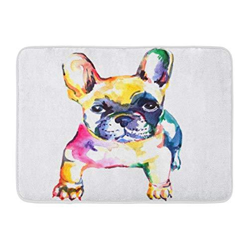 Emvency Bath Mat Cute White Frenchie French Bulldog Original Watercolor of Dog Rainbow Hand Bathroom Decor Rug 16' x 24'
