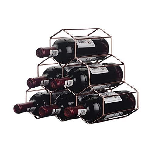 DYB Estante para Vino de pie, de Metal para 6 Botellas, para Vino, portátil, de pie, con Forma de Panal, para Botella de Vino para decoración del hogar, Gran Regalo (tamaño: 28 * 11 * 27 cm)
