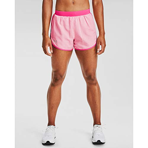 Under Armour Women's Fly By 2.0 Running Shorts , Cerise Full Heather (653)/Cerise Full Heather , Small