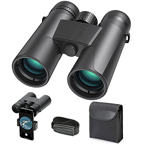 10x42 HD potente binocolo professionale adulto, cannocchiale con adattatore per smartphone per osservare gli uccelli osservare le stelle viaggiare cacciare fare escursioni eventi sportivi e concerti.