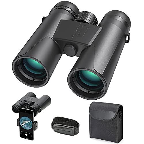 Prismáticos compactos 10x42 para observación de aves, senderismo, caza, turismo, pequeños prismáticos para adultos y niños, lente FMC, bolsa de transporte y adaptador para smartphone