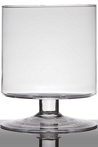 INNA-Glas Lot 2 x Pot de Fleurs en Verre Lilian sur Pied, Cylindre - Rond, Transparent, 24cm, Ø19cm - Verre à Bougie - Bac à Fleurs