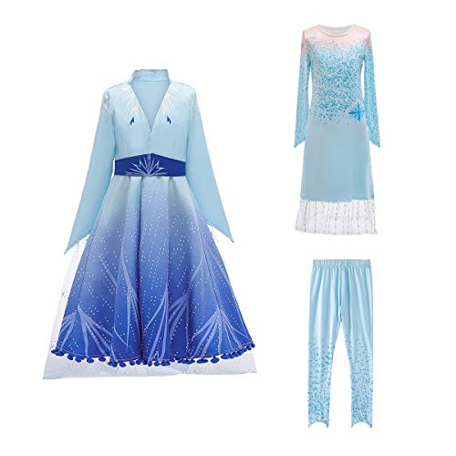 Luzlen Princess Dress for Girls Halloween Carnival Party Cosplay Dress Up Costumes Blue, 4-5 Years (Label 120)