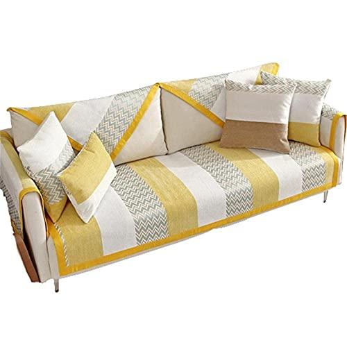 AMYZ Fundas de Cojines para sofá con Rayas de Chenilla,Funda Antideslizante para sofá,Funda reclinable en Forma de L,Amarillo,7070cm