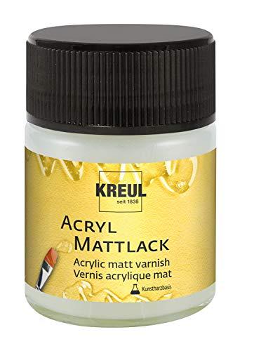 Kreul 79409 - Acryl Mattlack auf Kunstharzbasis, Schutz- und Überzugslack für durchgetrocknete Aufmalungen, für Innen und Außen geeignet, 50 ml Glas, matt transparent