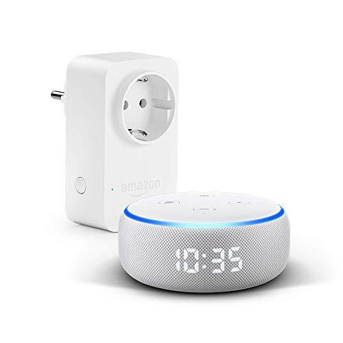 Nuevo Echo Dot (3.ª generación) - Altavoz inteligente con reloj y Alexa +Amazon Smart Plug (enchufe inteligente wifi), compatible con Alexa