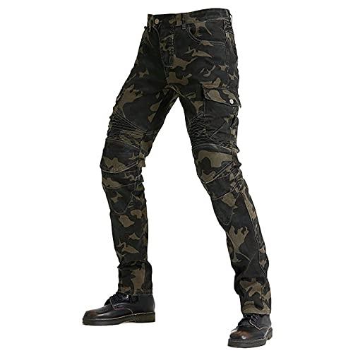 YCDZSW Hombre Motocicleta Pantalones Moto Jeans Pantalones De Moto,jeans De Motocicleta Clásicos,4 X Equipo De Protección (Camuflaje,XXXL)