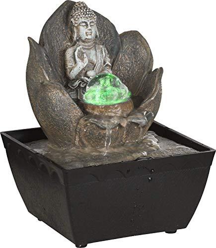 Globo RGB LED Buddah Tisch Brunnen Wohn Raum Dekoration Glas Bronze Farbwechsel Glas rund 93026