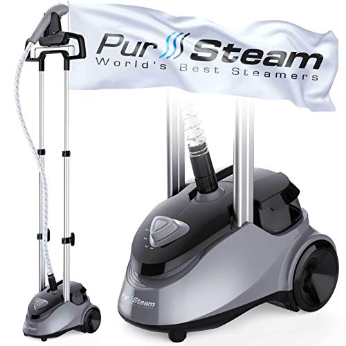 PurSteam Garment Steamer Professional Heavy Duty Industry Leading 2.5 Liter (85 fl.oz.) Water Tank, 60+min of Continuous Steam with 4 Level Steam Adjustment