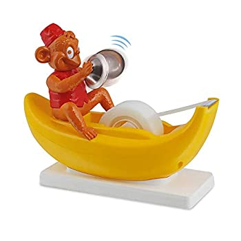 Amazeko Clapping Monkey Tape Dispenser with Cymbals Fun Animal Desk Decor 1 in Core Non-Slip Weighted Banana