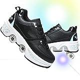 Zapatos Multiusos 2 En 1 Hombres Mujeres Patines con Ruedas Deformables Zapatillas De Deporte Casuales Patines para Caminar Patinetas De Cuatro Ruedas Runaway