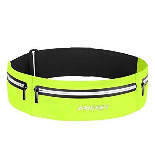 slim Fanny pack, waterproof fashion running bag, running belt 3 pocket Fanny pack, reflective adjustable elastic band, mobile phone up to 7 inches, men's and women's indoor and outdoor exercise gym exercise (green)