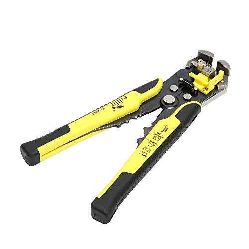 JERN Self-Adjusting Automatic Cable Cutter Crimper with 5 in 1 Multi-Tool Wire Stripping Cutting Pliers, 10-24 AWG, Large (Yellow)