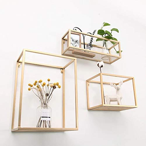 Corner Shelves Iron rectangle wandplank goud Multi-function rack unit Wandrek Schermstandaard Bloemenstandaard