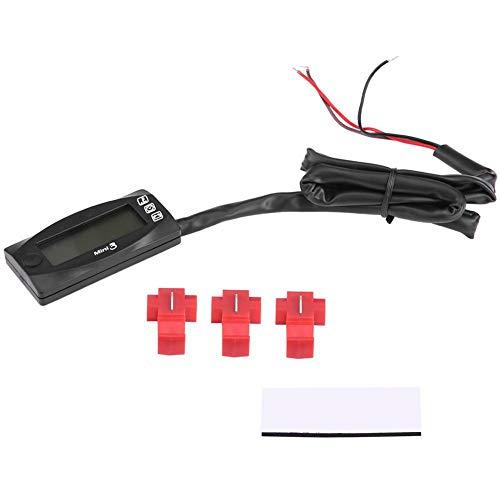 Motorcycle Voltmeter, Mini 3-in-1 LED Display Motorcycle Air Temperature & Time Clock & Voltmeter Voltage Meter Black