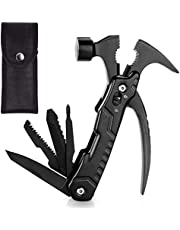 OHOH 12 in 1 Portable Survival Hammer Multi-Tool, Safety Locking Design, and Durable Pouch for Outdoor, Camping, Repairing, Fishing, Survival and More, Gifts for Father, Boyfriend, Husband