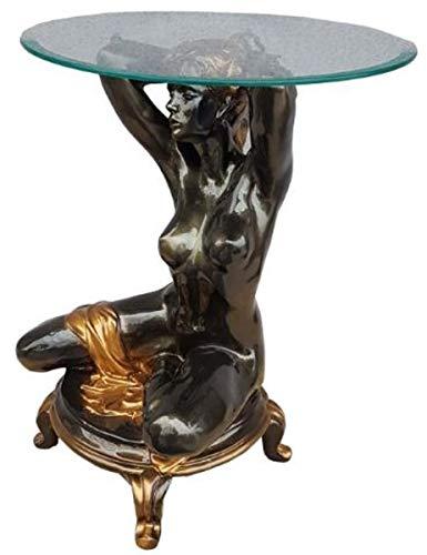 Casa Padrino Jugendstil Beistelltisch kniende Frau Schwarz/Gold Ø 45 x H. 63,5 cm - Eleganter Tisch mit runder Glasplatte - Wohnzimmer Möbel