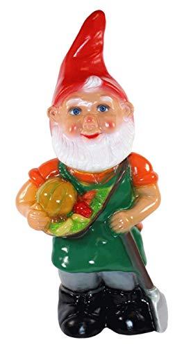 RAKSO Gartenzwerg Deko Garten Figur Zwerg Gärtner mit Obstkorb und Spaten stehend aus Kunststoff Höhe 43 cm