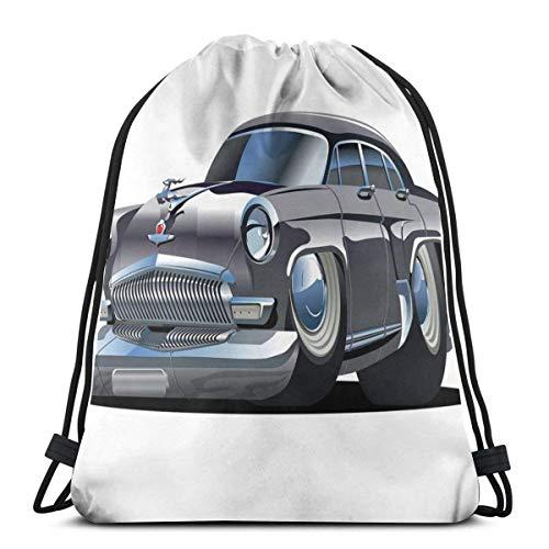 Kordelzug Bapa Taschen Sport Gym Cinch Bag Reisen für Frauen Männer Kinder, Retro inspiriertes Autodesign mit asymmetrischen Reifen Schnelle Auto-Geschwindigkeit Cooles Logo