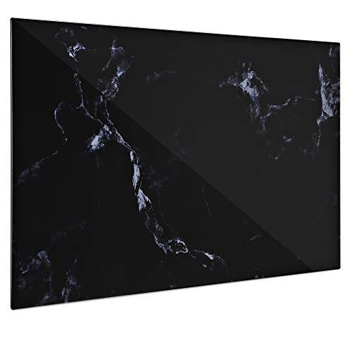 Navaris Lavagna Magnetica in Vetro scrivibile - 60x40cm 5X magneti 1x Pennarello Set Fissaggio - Bacheca Black-Board Decorativa Effetto Marmo - Nera