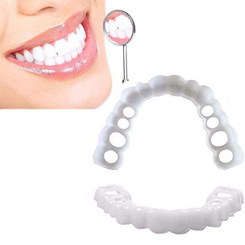 WANL Fausses Dents Blanches Naturel Fausse Dents Haut Et Bas Confort Flexibles Soins Dentaire Blanchir à Domicilequalité Professionnel,3 Pairs