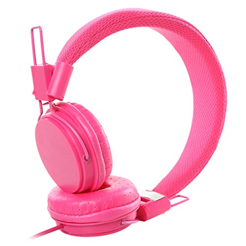 non_brand Auriculares EP05 Over Ear Auriculares con Cable con Cable de 1,2 M Jack de 3,5 Mm Plegable - Rojo Rosa