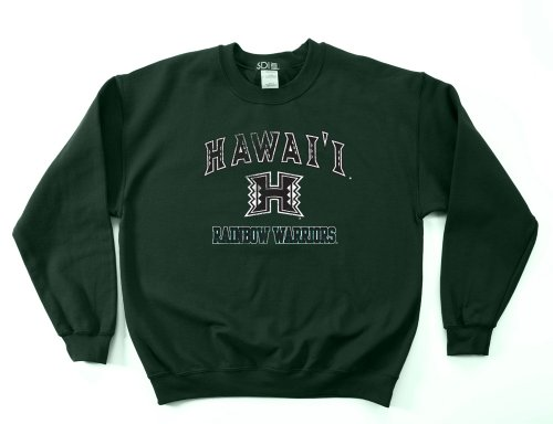 Hawaii Rainbow Warriors 50/50 Blended 8-Ounce Vintage Mascot Crewneck Sweatshirt, Medium, Forest