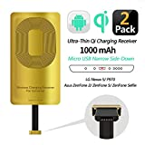 2 PCS Fast QI Receiver for HTC ONE Е9/X9/DESIRE 700/DESIRE 10-Meizu M5/M5 Note/M5c/U20-Note/U10 Ultra-Slim 5w 1000mAh Wireless Charging Receiver Adapter Compatible All Wireless Charger(Type B-2 pcs)