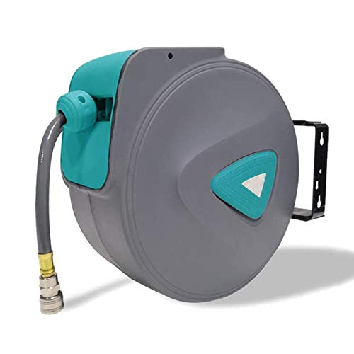 Froadp Automatisch Druckluftschlauch Aufroller 1/4'' Anschluss Schlauchtrommel mit Schlauchstopp und Schnell-Verschlusskupplung - Wandschlauchhalter Druckluftschlauch-trommel(10m, Grau)