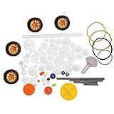 Belissy 78pcs plástico Engranajes polea Gusano Racks Gear Set Eje de la Correa DIY Accesorios Set