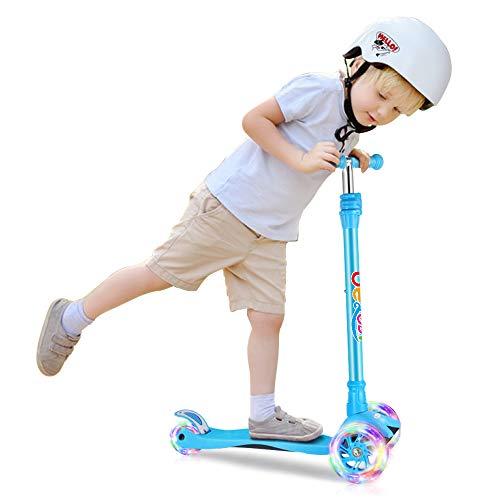 BELEEV キックボード 子供用 キックスクーター 3輪 スクーター LED 光るホイール ブレーキ付き 4段階調節可能 3-13歳に向け ギフトに最適 (ブレー)