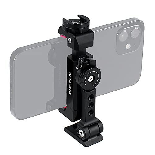 Metall-Stativhalterung + drehbarer Blitzschuh, um 360 Grad dreh- und neigbarer Winkel, kompatibel mit iPhone,Samsung,Smartphone-Halterung,Desktop-Stativ...