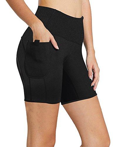 Women Workout Shorts Sauna Sweat Slimming Weight Loss Training Pants with Pocket Hot Body Shaper (Black Sweat Shorts, XL)