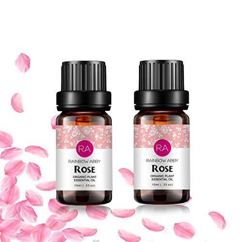 2 Bottles Rose Essential Oil 100% Pure Aromatherapy Oil for Diffuser, Perfumes, Massage, Skin Care, Soaps, Candles - 2 x 10 mL