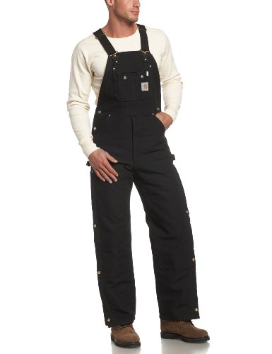 Carhartt mens Quilt Lined Zip To Thigh Bib Overalls Black 34 x 30